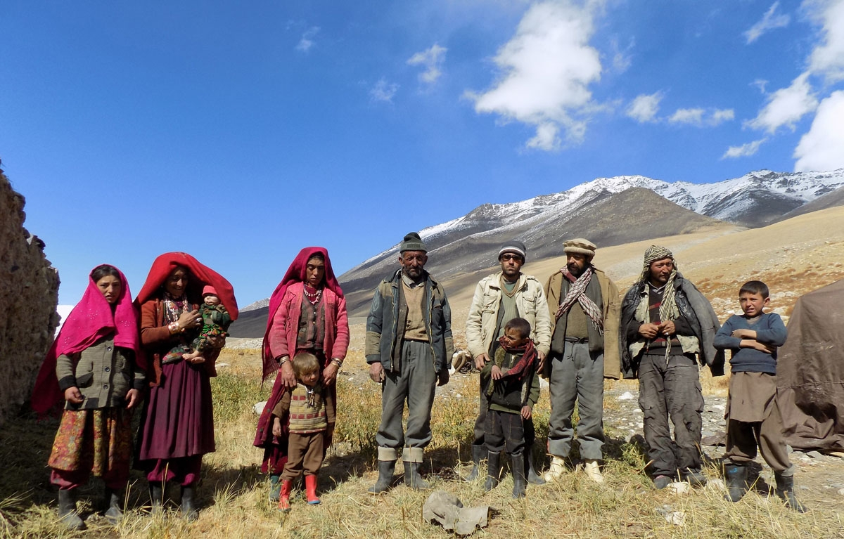 This photograph taken on October 8, 2017 shows Afghan Wakhi nomad family posing for a picture in the Wakhan Corridor in Afghanistan.