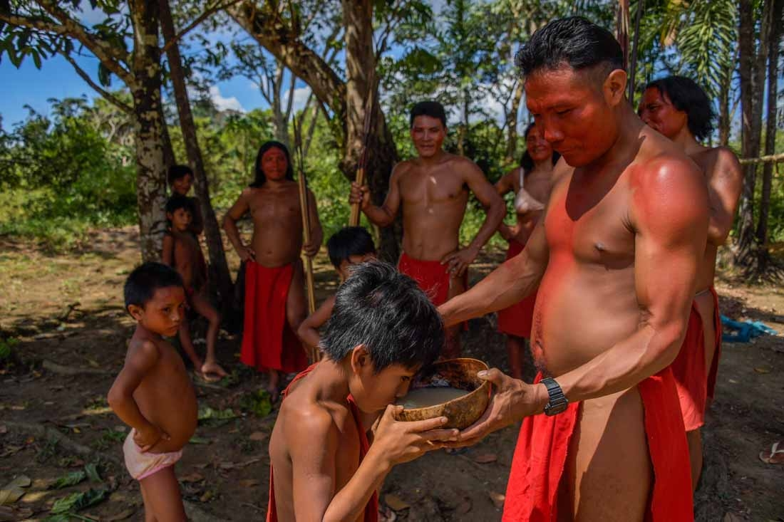 A Waiapi man gives Caxiri, a craft beer made with Manioc, imbibed daily by men, women and children when is not yet sour yet, at the indigenous reserve Waiapi on the Manilha village in Amapa state in Brazil on October 12, 2017.