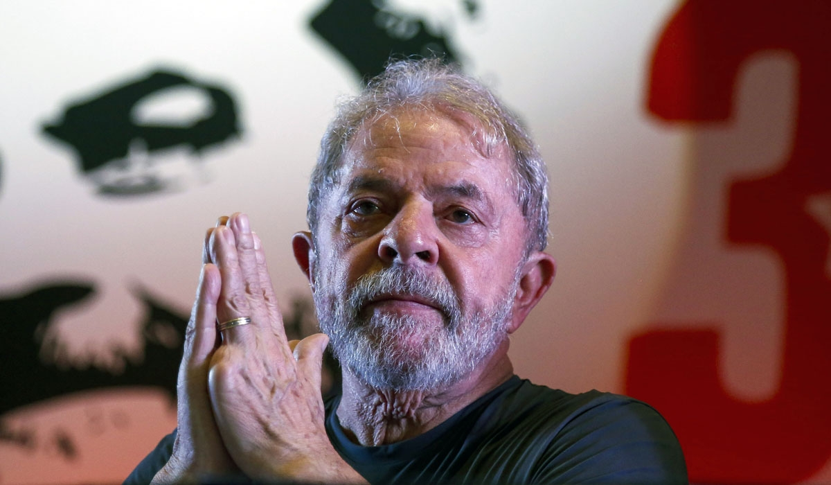 Former Brazilian president Luiz Inacio Lula da Silva gestures during the commemoration of the 38th anniversary of the Workers Party (PT) in Sao Paulo, Brazil on February 22, 2018.