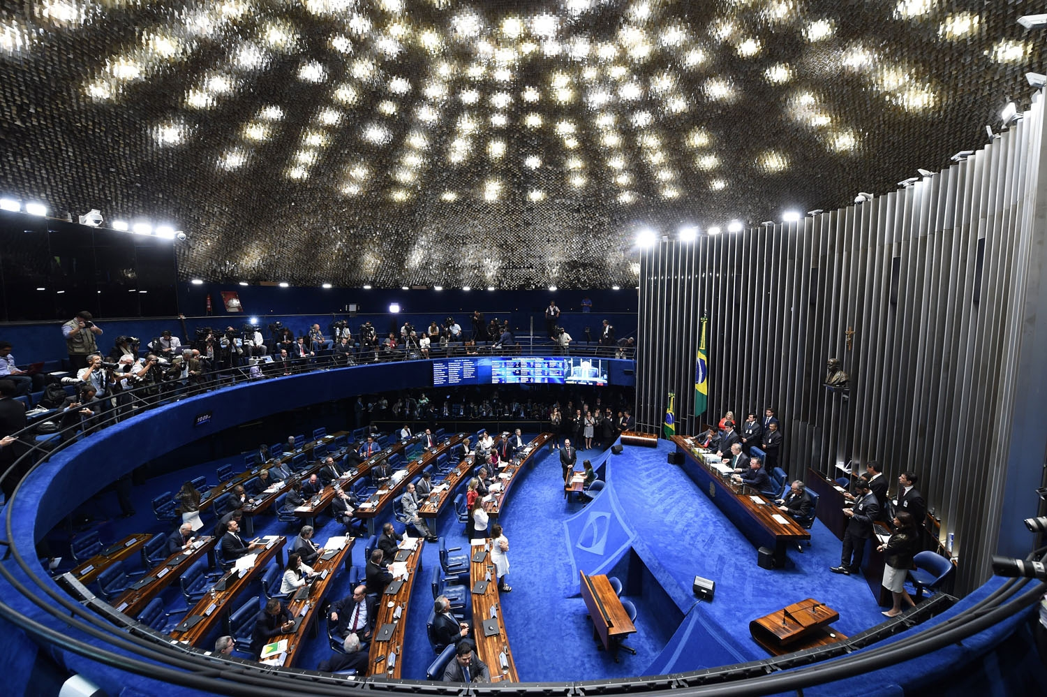 Overview of the Senate session during a debate of a vote on suspending President Dilma Rousseff and launching an impeachment trial, in Brasilia on May 11, 2016