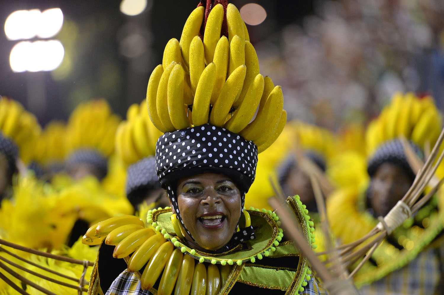Revelers of the Grande Rio samba school perform during the first night of carnival parade at the Sambadrome in Rio de Janeiro on March 2, 2014
