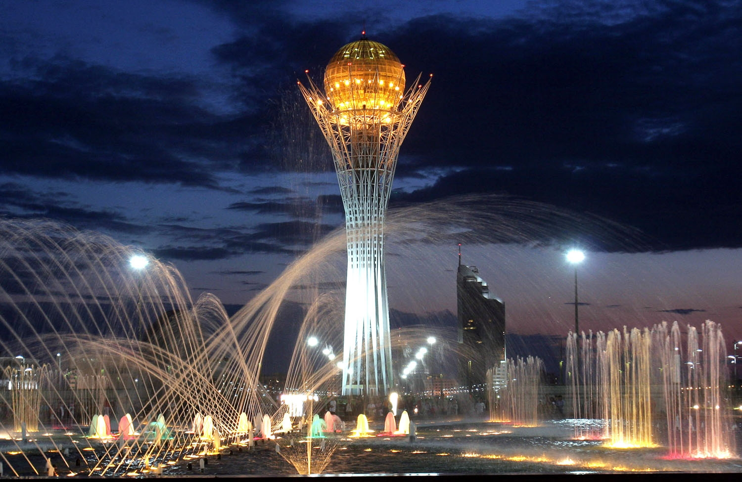 A picture taken 12 June 2005 shows the 97 metres (320 feet) steel tower in the center of Astana