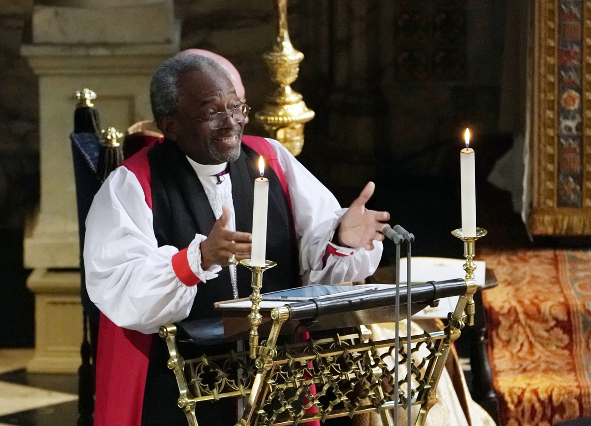 Bishop Michael Bruce Curry gives a reading during the wedding ceremony of Britain's Prince Harry, Duke of Sussex and US actress Meghan Markle in St George's Chapel, Windsor Castle, in Windsor, on May 19, 2018.  / AFP PHOTO / POOL / Owen Humphreys