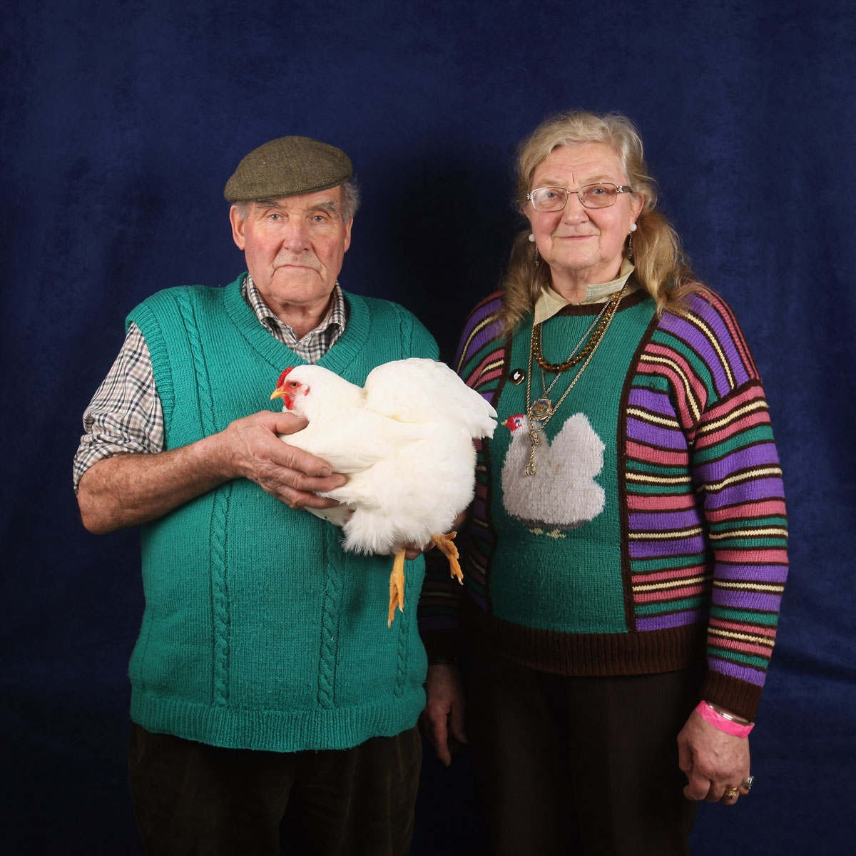 Allan and Dinah Procter, from Preston, show their 20 month old White Wyandotte Bantam hen which won a 1st prize in its breed at the Poultry Club's 2011 National Show on