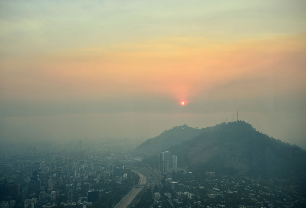 View of Santiago blanketed by smoke caused by forest fires on January 20, 2017 2017.