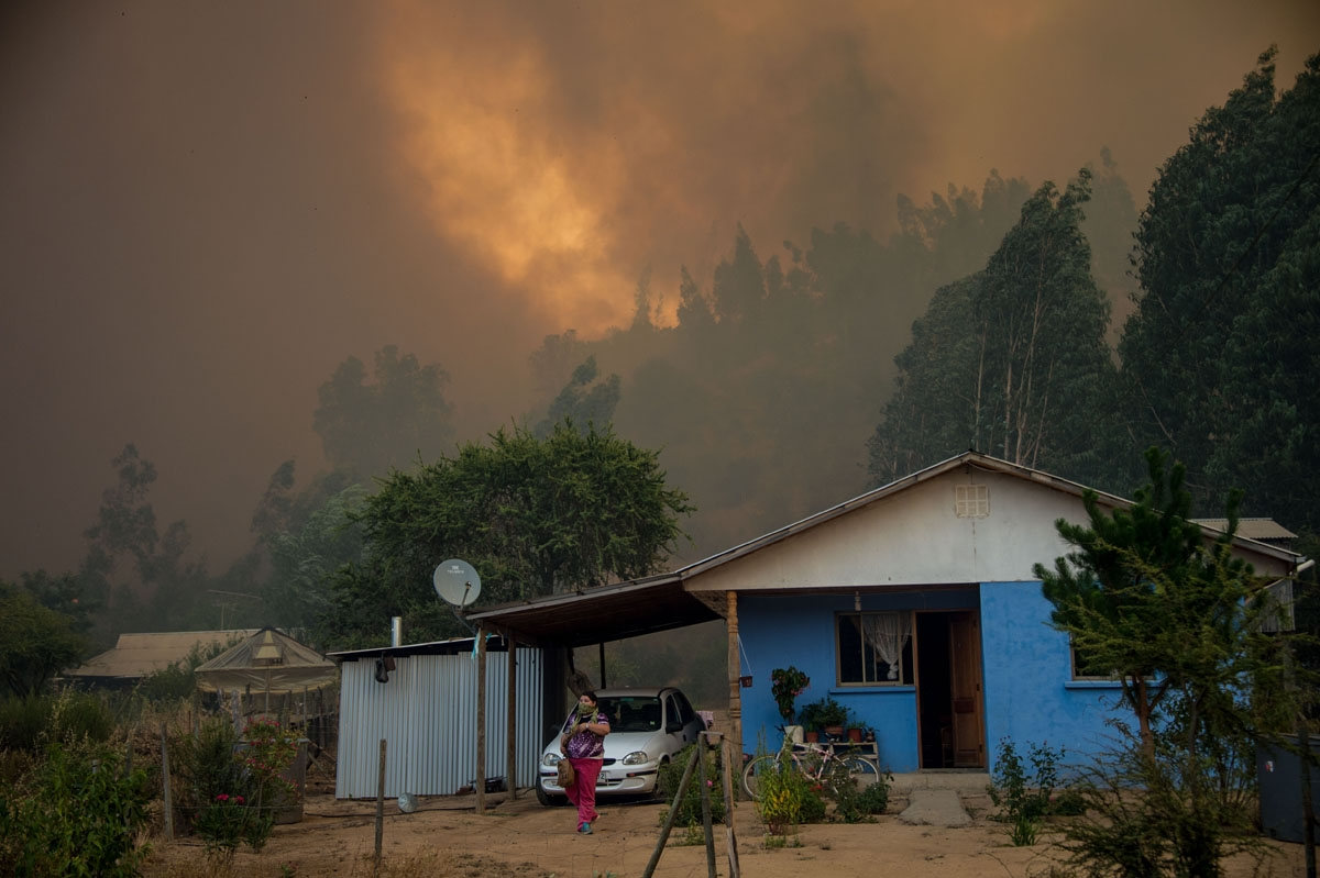 iew of a forest fire in Pumanque, 140 km south of Santiago on January 21, 2017.