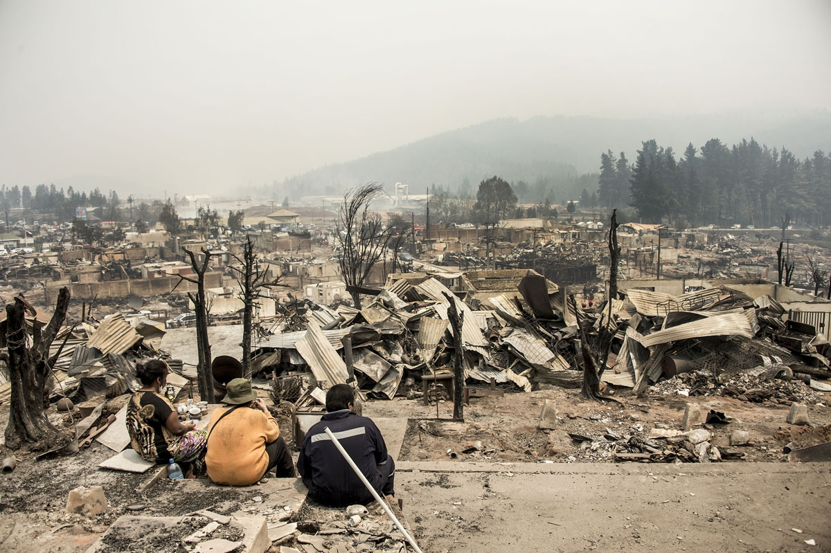 View of the remains of Santa Olga, 350 kilometres south of Santiago, after being devastated by a forest fire on January 27, 2017