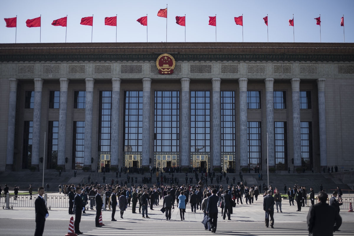 Delegates arrive at the Chinese People's Political Consultative Conference plenary session at the Great Hall of the People in Beijing on March 9, 2017. More than 3000 delegates from across China are attending the annual meeting of the country's rubber-sta