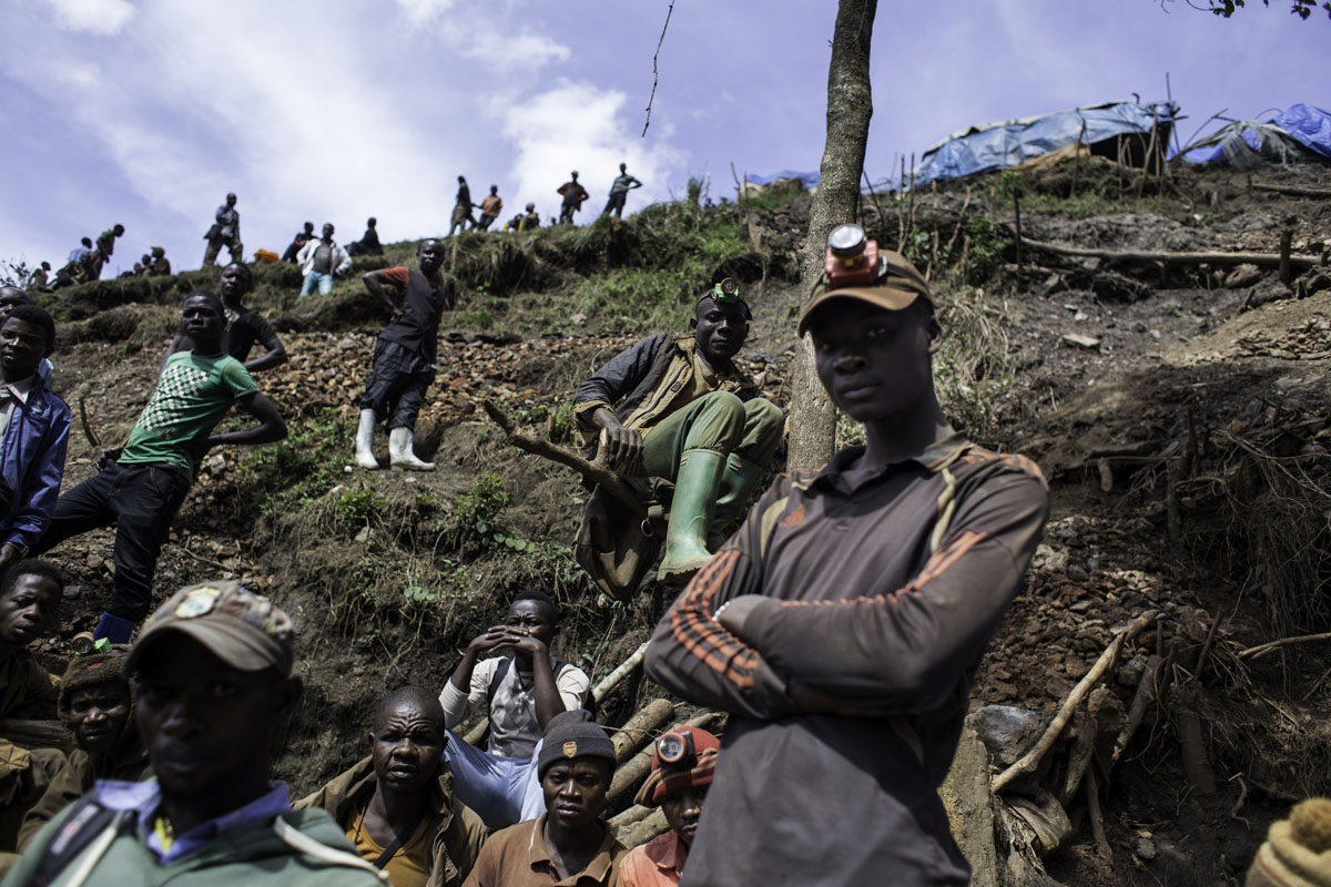 Artisanal miners rest at Kacuba cassiterite mine near Nzibira, south-west of Bukavu, in Democratic Republic of Congo, on March 29, 2017.