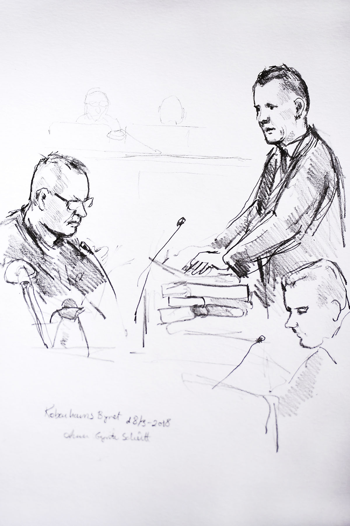 Court drawing by Anne Gyrite Schuett made available by Danish news agency Ritzau SCANPIX shows accused Peter Madsen (L) and the prosecutor Jakob Buch-Jepsen (standing) on the first day of the trial at the courthouse in Copenhagen, Denmark, where the trial