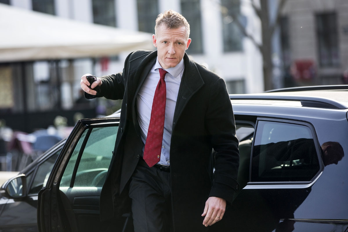Prosecutor Jakob Buch-Jepsen arrives on April 23, 2018 for a hearing at the Copenhagen city council where the trial against Danish inventor Peter Madsen, accused of the grisly murder of Swedish journalist on board his self-made submarine, wraps up with a