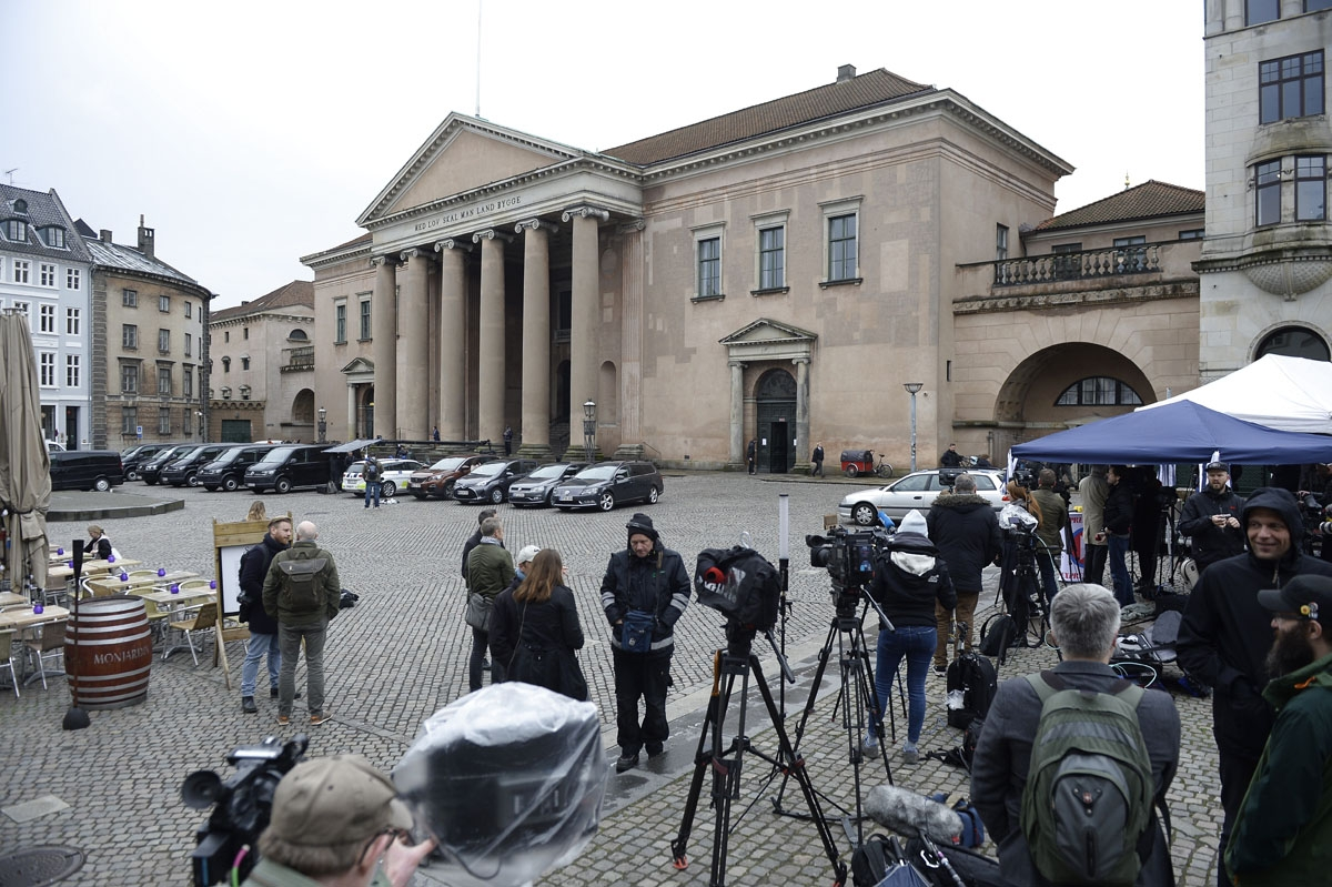 Members of the media set up in front of the courthouse in Copenhagen, on April 25, 2018.