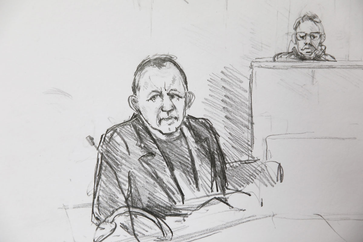 Court drawing by Anne Gyrite Schütt made available by Danish news agency Ritzau SCANPIX shows accused Peter Madsen (L) during his trial at the courthouse in Copenhagen, where his verdict was spoken in Copenhagen on April 25, 2018.