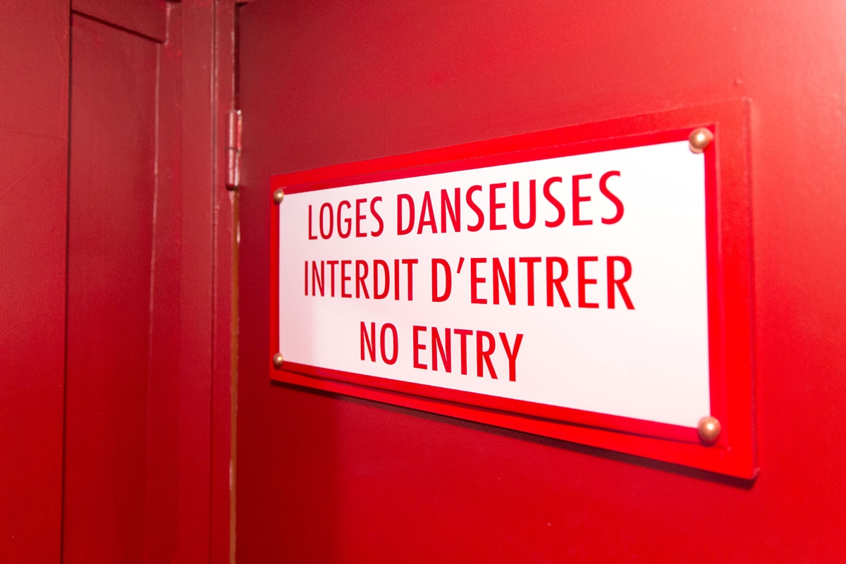 A picture shows the entrance of the backstage of the Parisian cabaret Crazy Horse on September 16, 2017 in Paris.