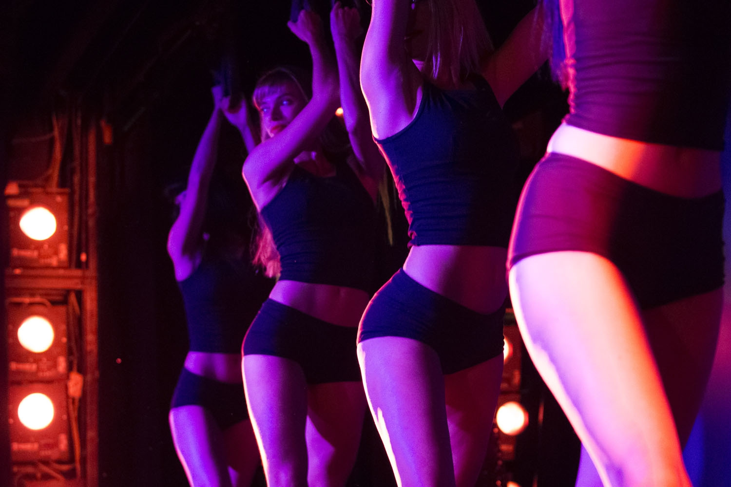 Dancers rehearse a show on the stage of the Parisian cabaret Crazy Horse on September 15, 2017 in Paris.