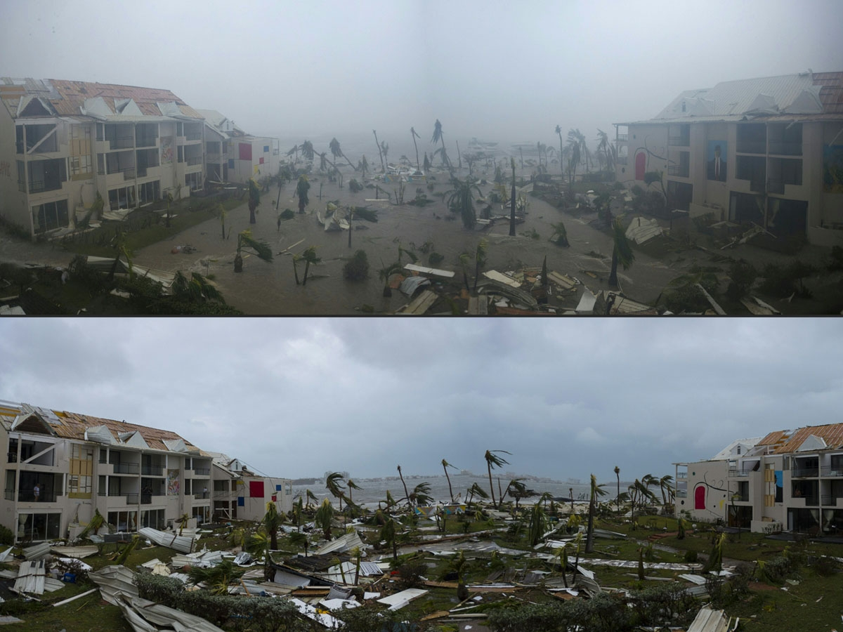 COMBO) This combination of pictures created on September 7, 2017 shows panoramic photos taken on September 6, 2017 of the Hotel Mercure in Marigot, near the Bay of Nettle, on the French Collectivity of Saint Martin, during and after the passage of Hurrica