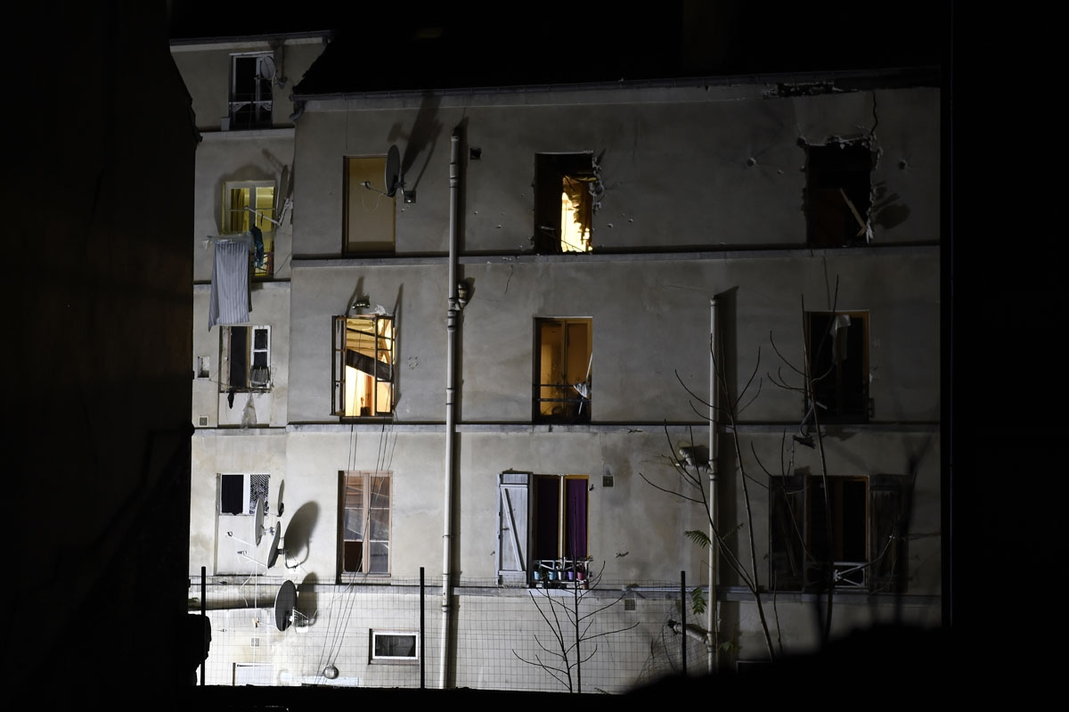 Picture taken of the building in the northern Paris suburb of Saint-Denis, on November 18, 2015, where French Police special forces raided an apartment, hunting those behind the attacks that claimed 129 lives in the French capital five days ago
