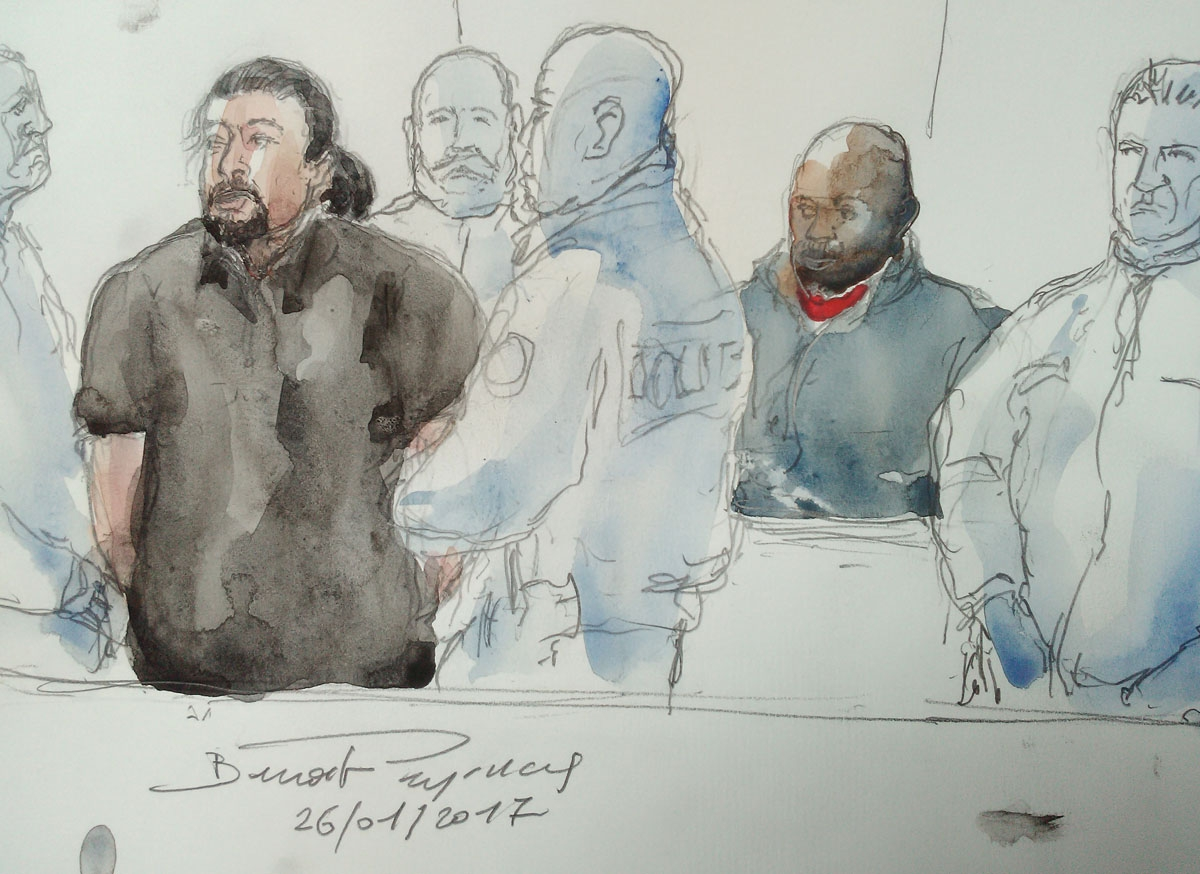 In this courtroom sketch made on January 26, 2017 at the court in Bobigny, suburban Paris, shows Jawad Bendaoud (L) who allegedly accomodated Jihadists involved in the November 13, 2015 terror attacks in Paris, and Mohamed Soumah (L) who is beleived to ha