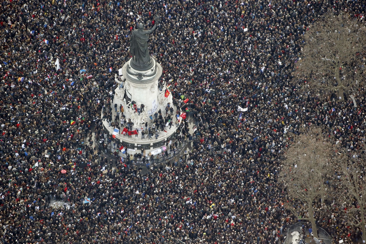 This picture taken on on January 11, 2015 shows an aerial view of people attending the Unity rally €œMarche Republicaine€ at the Place de la Republique (Republique's square) in Paris in tribute to the 17 victims of a three-day killing spree by homegrow