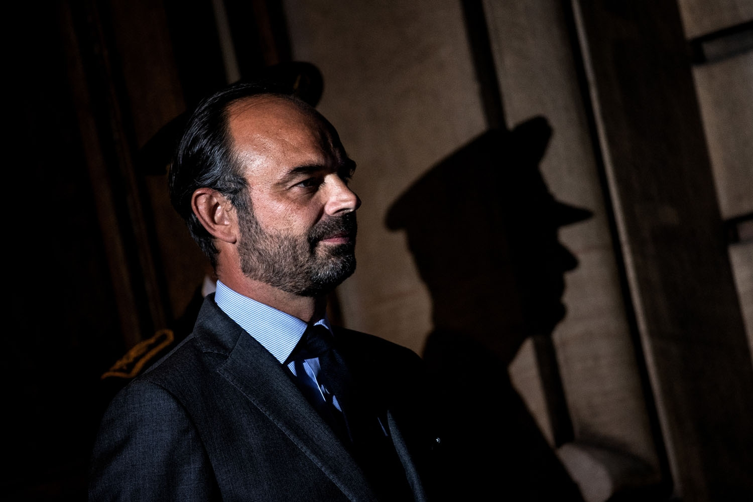 French prime minister and interim interior minister Edouard Philippe (L) waits for G6 ministers arrival on October 8, 2018 in Lyon, during the G6 Summit of Interior Ministers of France, Germany, United Kingdom, Spain, Italy and Poland. - Interior minister