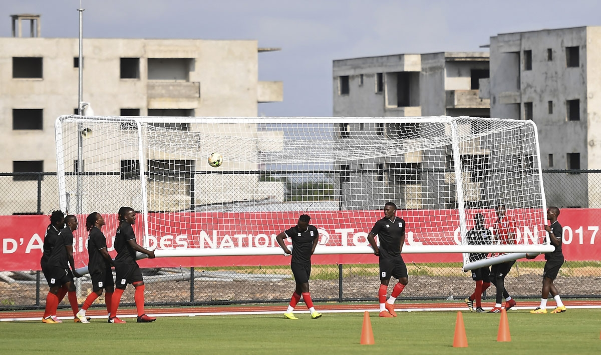 Uganda's national football team move a goal as they take part in a training session in Port-Gentil on January 19, 2017, during the 2017 Africa Cup of Nations football tournament in Gabon.