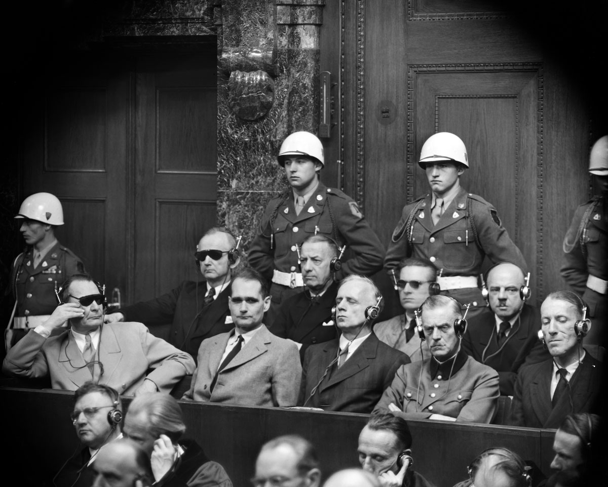 Photo taken in 1946 during the Nuremberg trial where nazi criminals have to answer for their crimes during World War II before a tribunal formed by Britain, America, Russia and France. fron LtoR, first row, in the dock: Hermann Goering, Rudolf Hess, Joach