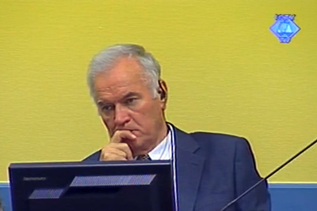 A screen grab taken from images released by the International Criminal Tribunal for the former Yugoslavia (ICTY) shows Bosnian Serb ex-army chief Ratko Mladic listening to the first prosecution witness in the courtroom on July 9, 2012 in The Hague.   Befo