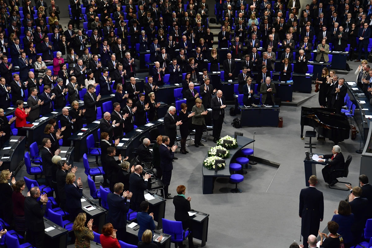 Holocaust survivor and cellist Anita Lasker-Wallfisch receives standing ovations after addressing the Bundestag (Germany's lower house of parliament) during the annual ceremony in memory of Holocaust victims and survivors, on January 31, 2018 in Berlin.