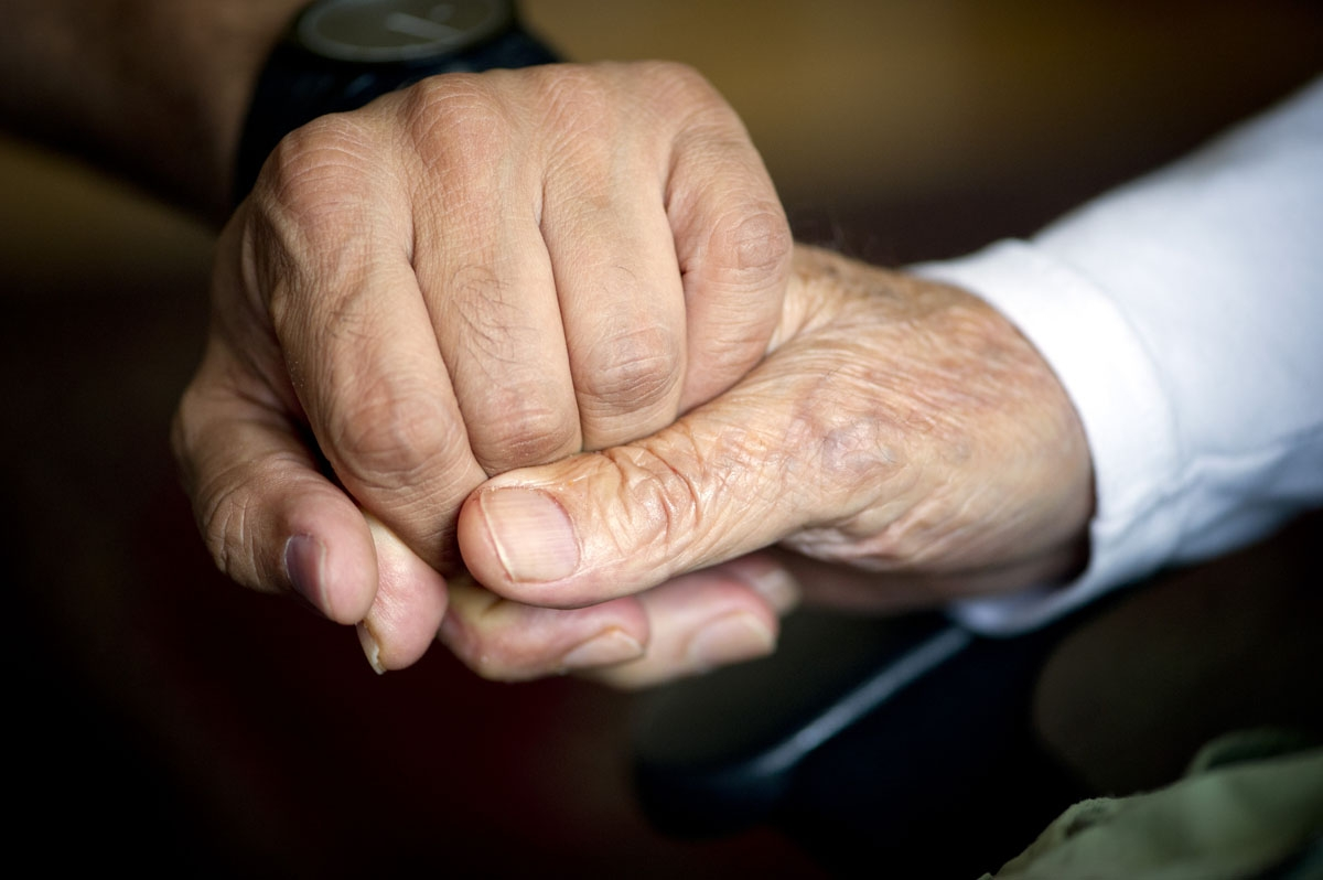 A 92-year-old man holds the hand of his carer in the Aliacare home for the elderly in Berlin, October 8, 2013.