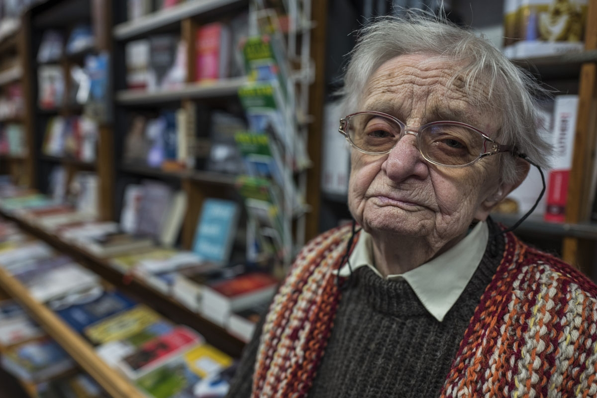 Bookshop owner Helga Weyhe poses in her shop the German town of Salzwedel on January 10, 2018.