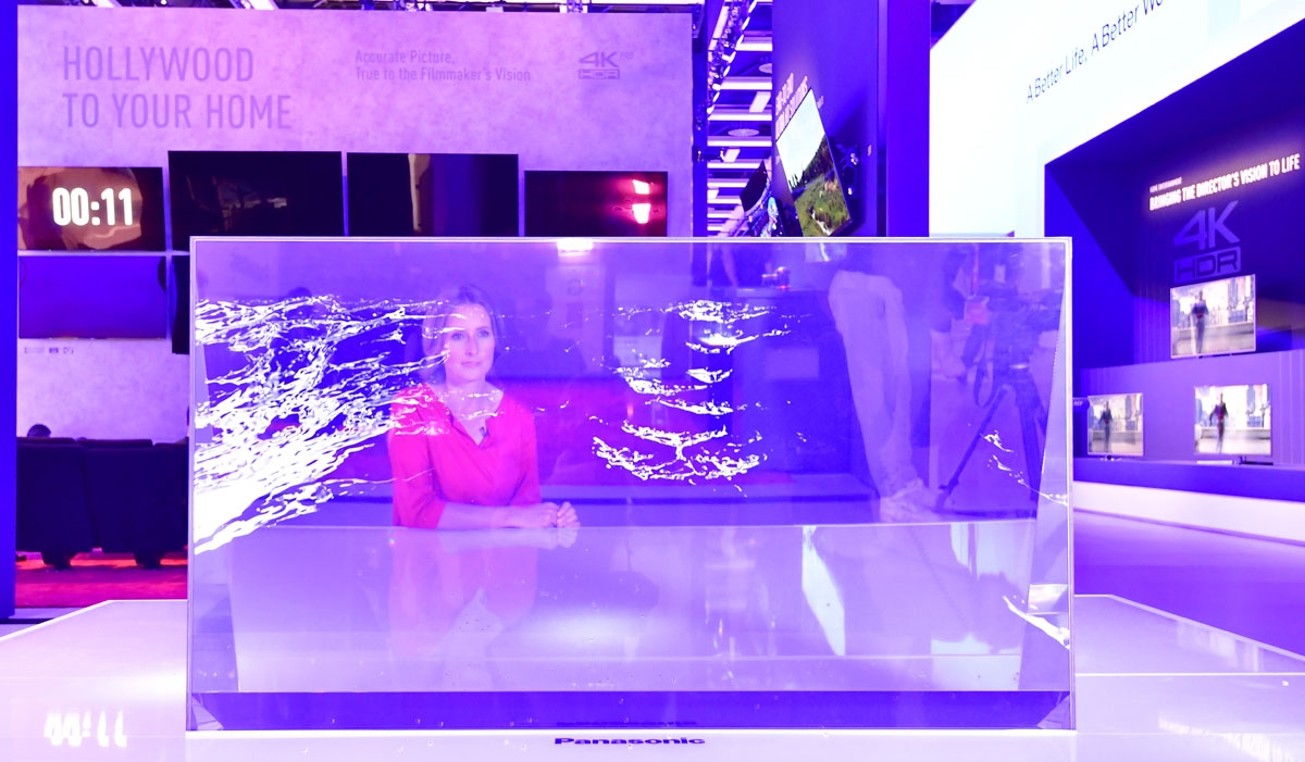 A transparent television set is presented at the booth of Panasonic at the IFA Consumer Electronics Fair in Berlin in Berlin on August 31, 2017. The fair is open for the public from September 1 to 6, 2017.