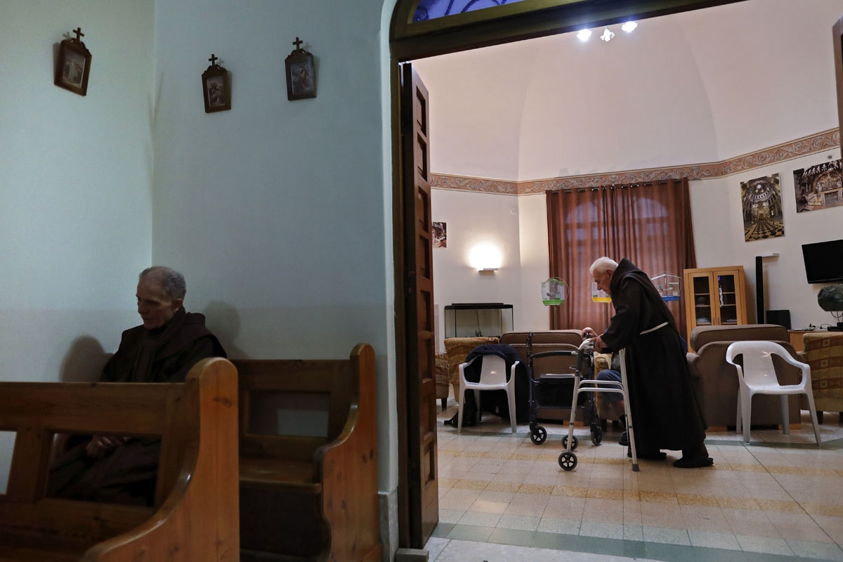 Franciscan friars, who are retired or on sick leave, are seen at the infirmary, a whole floor dedicated to them, at the Church of the Saint Saviour Convent, headquarter of the Franciscans in the Holy Land, in the Old City of Jerusalem, on February 11, 201