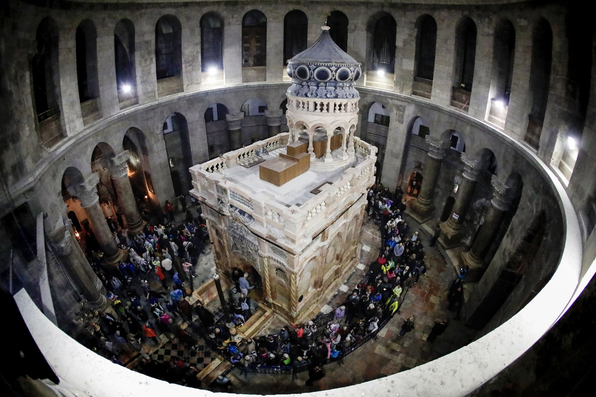 A picture taken on March 21, 2017 at the Church of the Holy Sepulchre in the Old City of Jerusalem shows the renovated Edicule of the Tomb of Jesus (where his body is believed to have been laid).