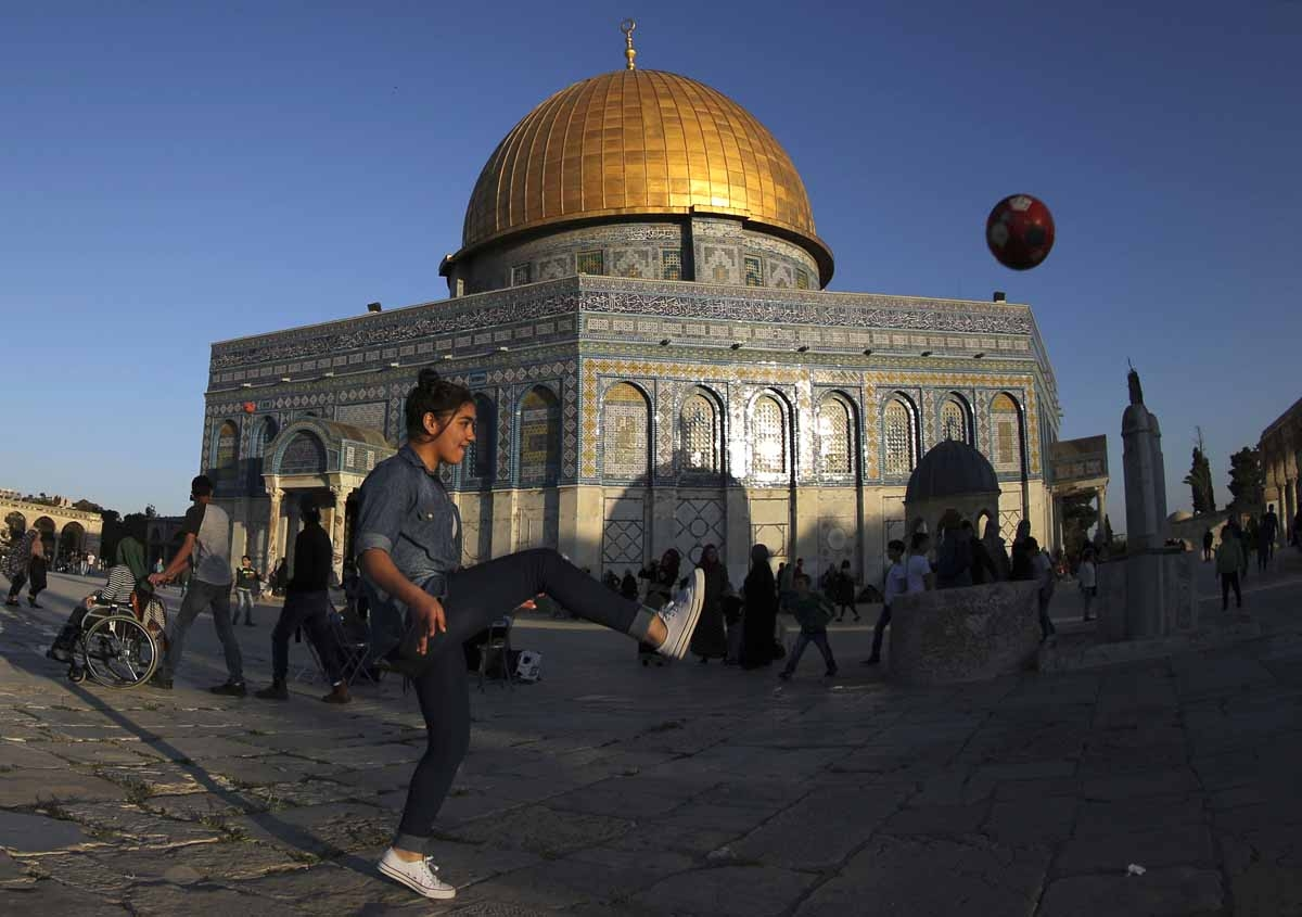 Playing football at the Al-Aqsa Mosque compound, April, 2017.