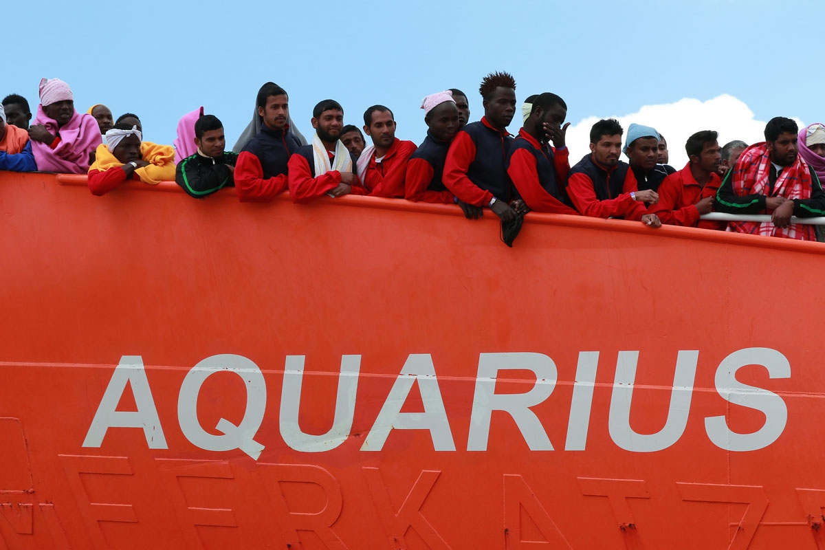 The Aquarius rescue Ship run by NGO S.O.S. Mediterranee and Medecins Sans Frontieres arrive in the port of Salerno with 1004 migrants including 240 children rescued in the Mediterranean sea, on May 26 2017.
