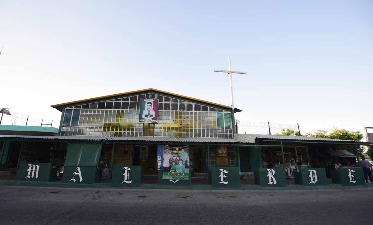 View of the facade of the Malverde chapel -devoted to narco-saint Jesus Malverde, who according to legend was a Robin Hood-type bandit who stole from the rich and gave to the poor- in Culiacan, Sinaloa state in northwest Mexico, on December 7, 2016.