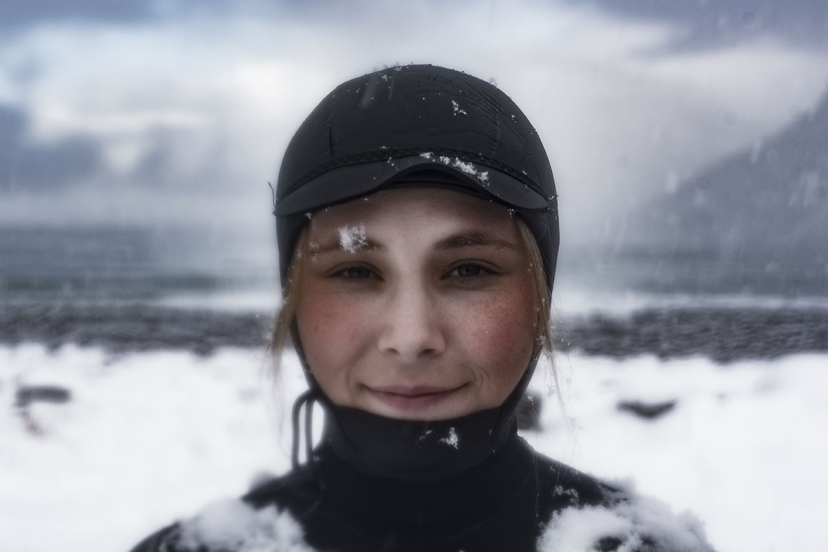 Solmoy Austbo from Norway poses after a surf session, on March 11, 2018 in Unstad northern Norway, Lofoten islands, within the Arctic Circle as air temperature drops minus 13°C and water temperature above 4°C.