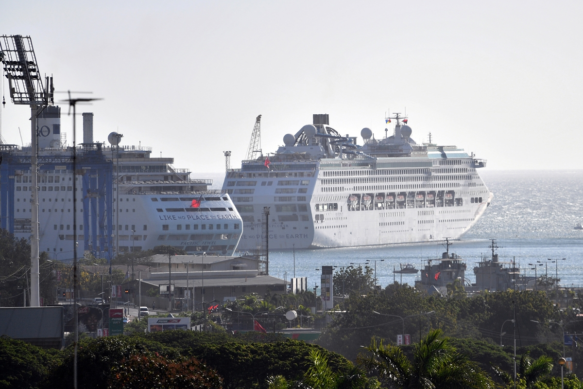 This picture taken on November 13, 2018 shows cruise ships that will accommodate delegates and journalists at this year's Asia-Pacific Economic Cooperation (APEC) Summit in Port Moresby.