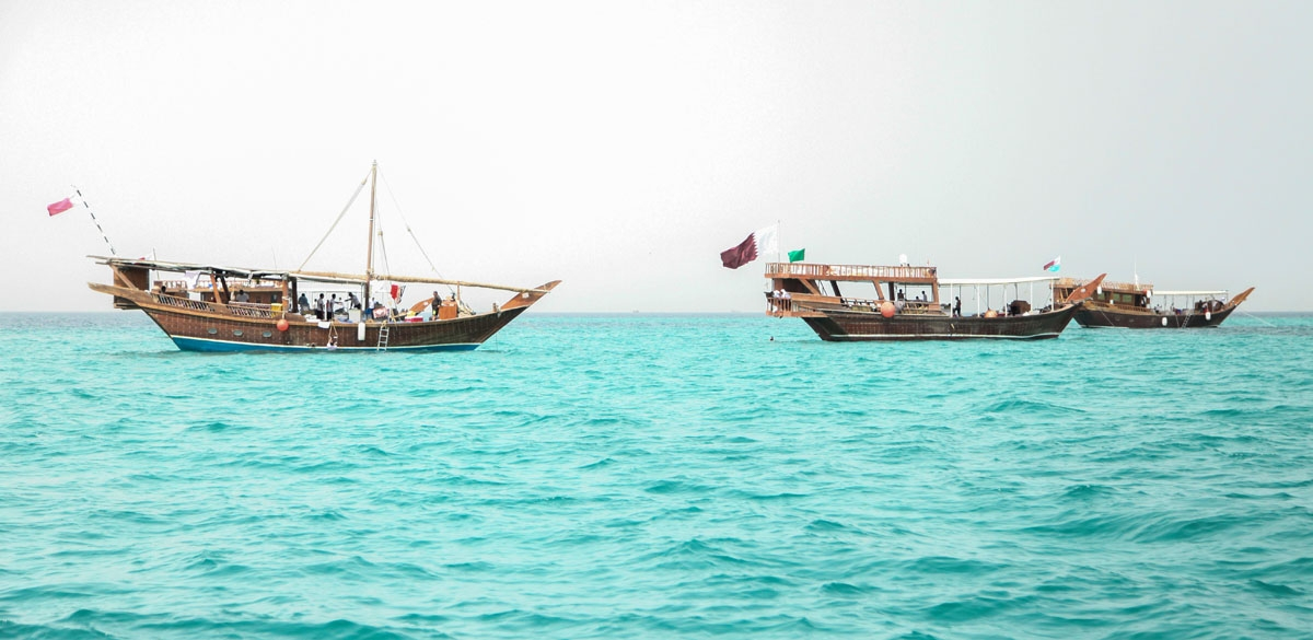 Traditional dhow boats off the south eastern coast of Qatar, April, 2015.