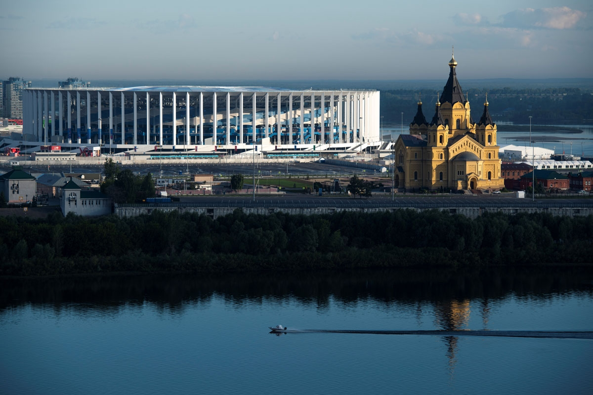 A view on the stadium in Nizhyny Novgorod, with the cathedral of Alexander Nevskyi in front. June, 2018.
