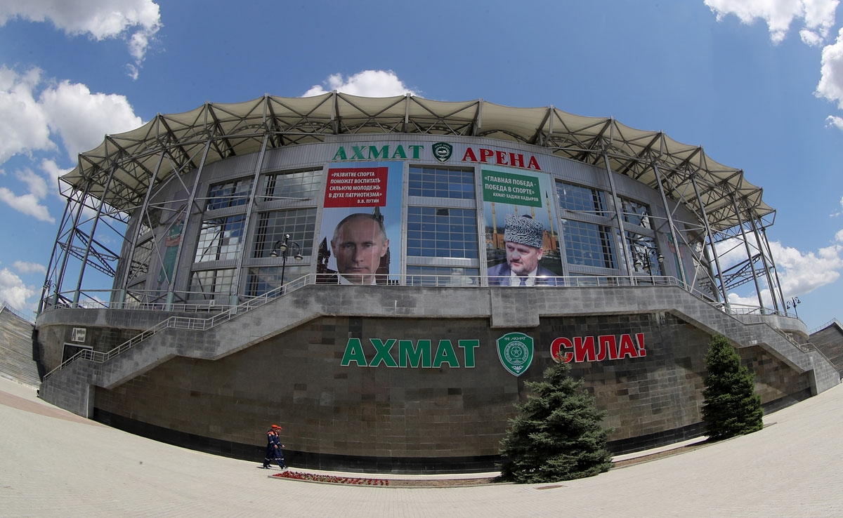 A general view of the Akhmat Arena stadium in Grozny on June 9, 2018, ahead of the Russia 2018 World Cup. Egypt's national football team will use the venue as their base camp training site. / AFP PHOTO / KARIM JAAFAR