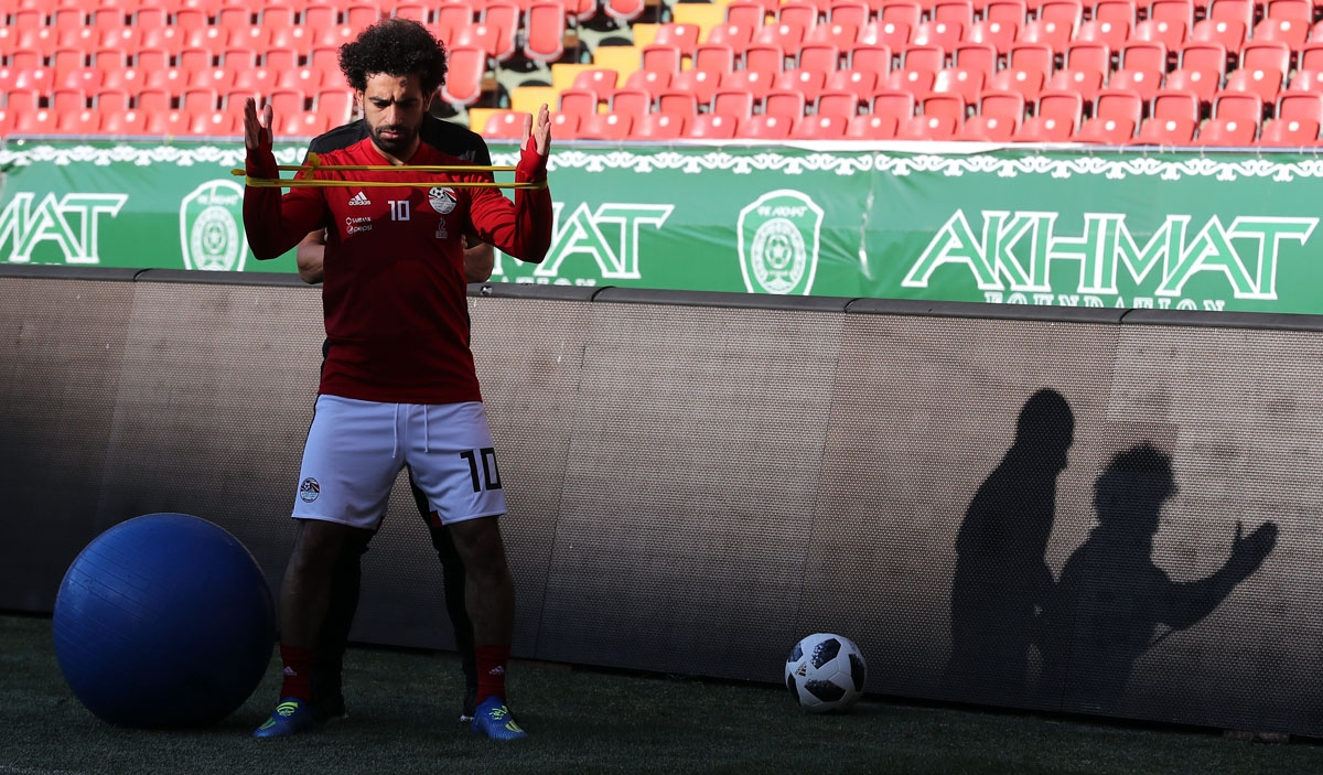 Egypt's forward Mohamed Salah attends a training session at the Akhmat Arena stadium in Grozny on June 12, 2018, ahead of the Russia 2018 World Cup football tournament.