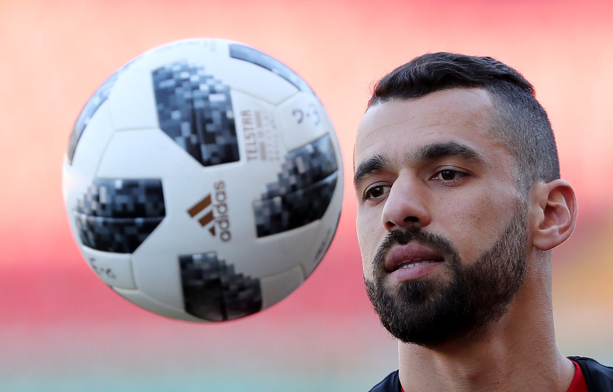Egypt's forward Abdallah Saied attends a training session at the Akhmat Arena stadium in Grozny, on June 22, 2018 during the Russia 2018 World Cup football tournament.