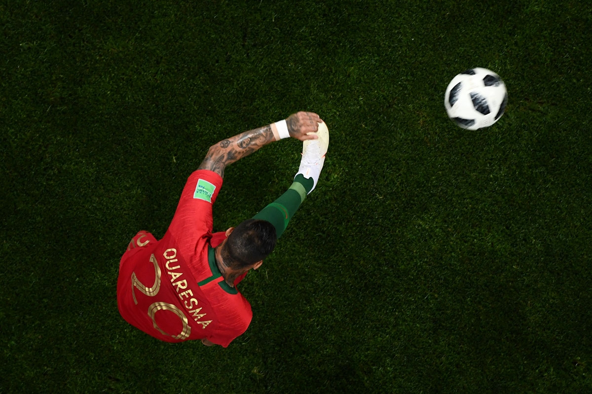 Portugal's forward Ricardo Quaresma kicks the ball during the Russia 2018 World Cup Group B football match between Portugal and Spain at the Fisht Stadium in Sochi on June 15, 2018. /
