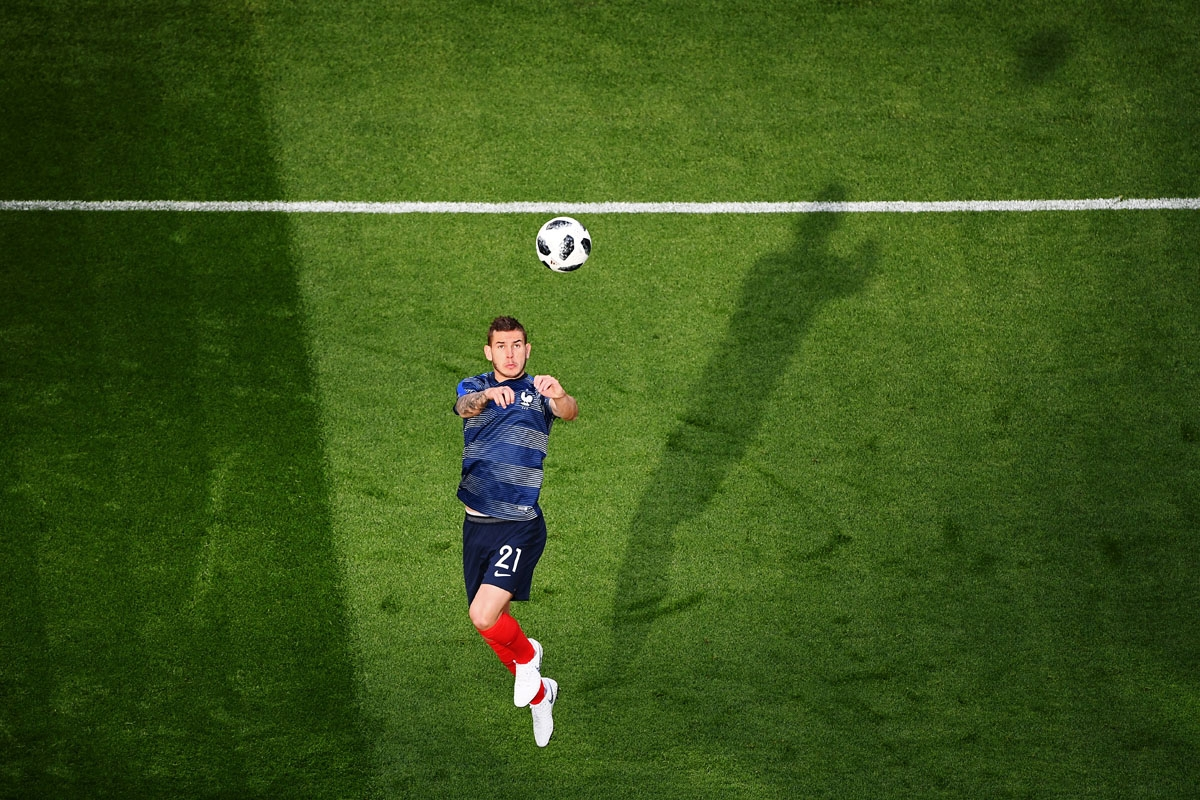 France's defender Lucas Hernandez warms up before the Russia 2018 World Cup Group C football match between France and Peru at the Ekaterinburg Arena in Ekaterinburg on June 21, 2018. /