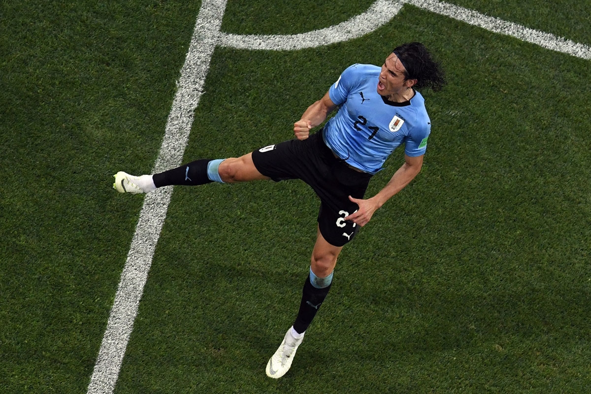 Uruguay's forward Edinson Cavani celebrates after scoring a second goal during the Russia 2018 World Cup round of 16 football match between Uruguay and Portugal at the Fisht Stadium in Sochi on June 30,