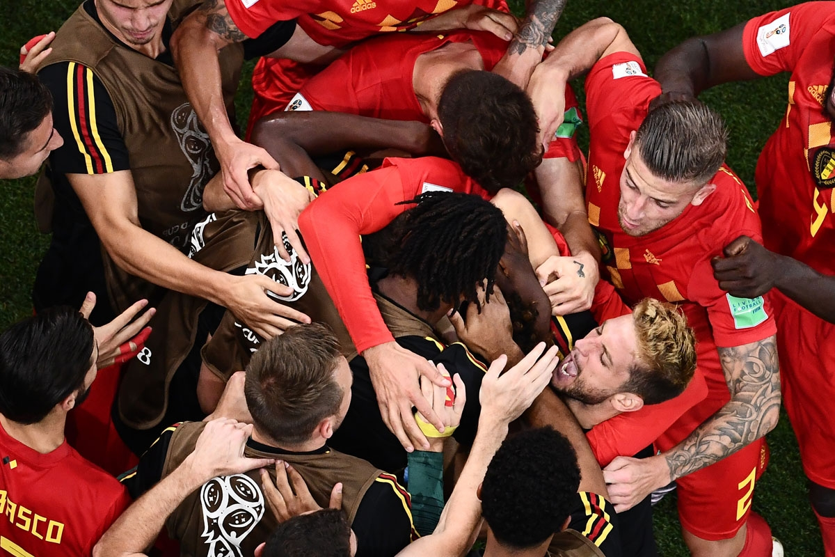 Belgium's players celebrate their second goal during the Russia 2018 World Cup round of 16 football match between Belgium and Japan at the Rostov Arena in Rostov-On-Don on July 2, 2018