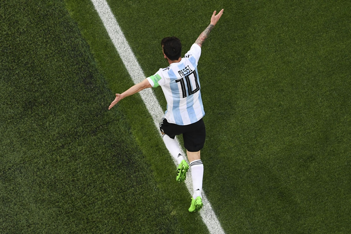 Argentina's forward Lionel Messi celebrates his goal during the Russia 2018 World Cup Group D football match between Nigeria and Argentina at the Saint Petersburg Stadium in Saint Petersburg on June 26,