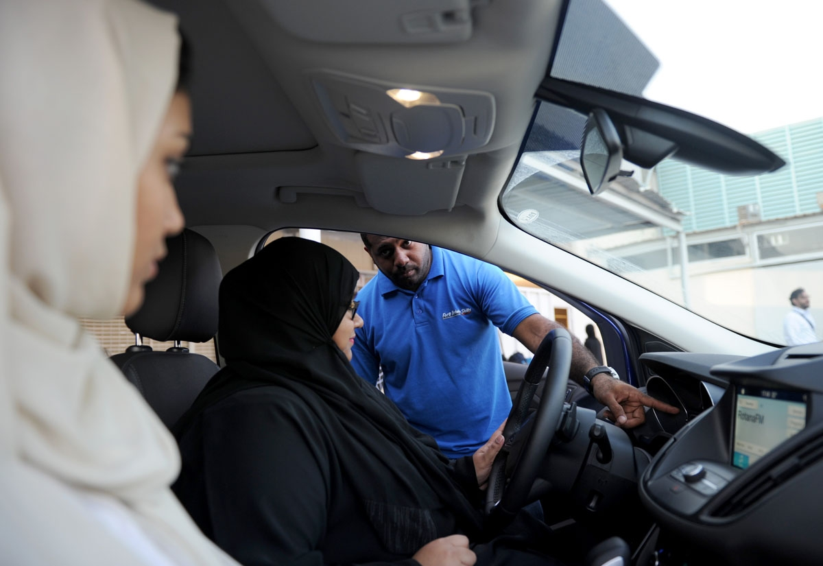 A Saudi woman has a driving lesson in Jeddah on March 7, 2018.