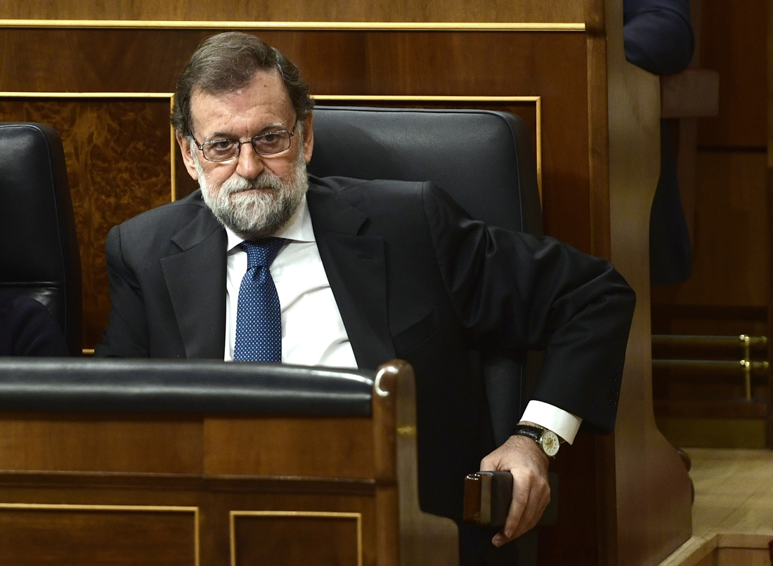 Spain's Prime Minister Mariano Rajoy attends a session of the Lower House of Parliament in Madrid on October 25, 2017.